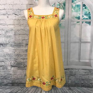 XXI Yellow Embroidered Top Blouse Sz S (B03)